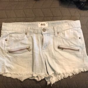 Paige light wash jean shorts